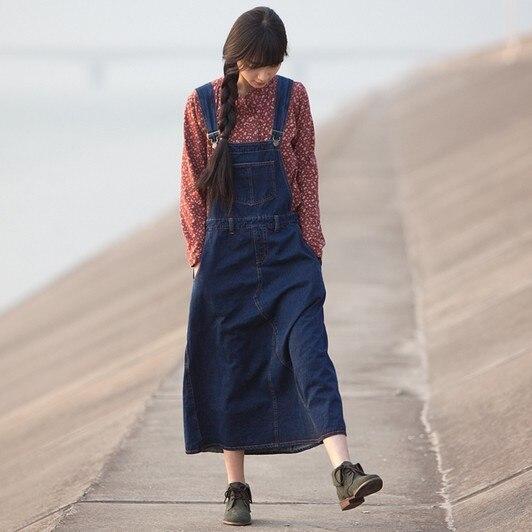 Новая мода свободные А-образные джинсовые платья для женщин длинные до середины икры размера плюс цельные джинсы XL Комбинезоны платья - Цвет: Синий