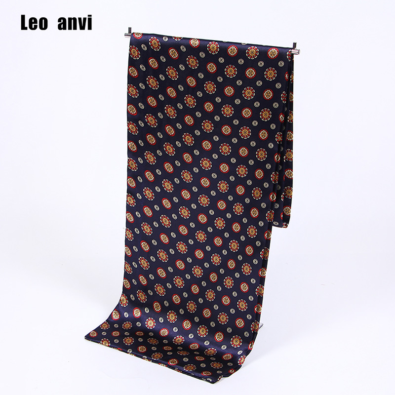 Leo anvi Paisley print cravat silk Scarf luxury brand men foulard Satin Retro Soft