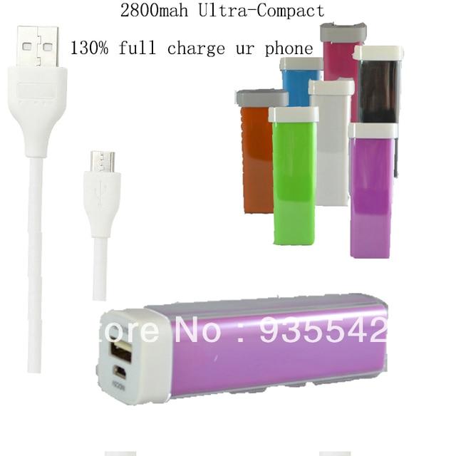 2800mah Lipstick Power Bank  Pack External Battery Charger for Motorola Moto X Droid Bionic Targa XT875 Defy MB525 -Purple