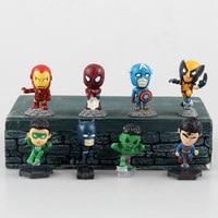 8Pcs Set Spiderman Captain America Iron Man Hulk Superheroes Batman X Men Pvc Action Figure Juguetes