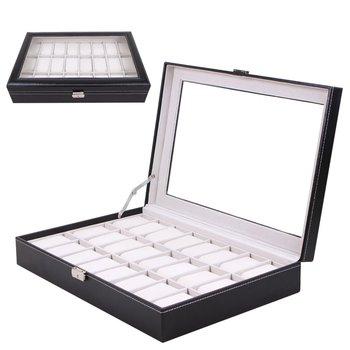 24 Grids Black PU Leather Wrist Watch Box Jewelry Storage Case Box Organizer Holder Foam Pad Pillow Transparent Package 2020