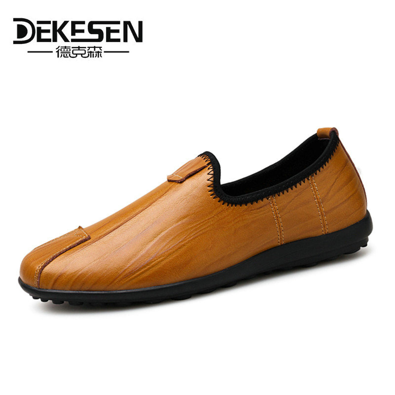 Dekesen Genuine leather Mens Loafers Fashion Handmade Moccasins Soft Driving shoes Blue Slip On Men's Boat Shoe PLUS SIZE 37~46 branded men s penny loafes casual men s full grain leather emboss crocodile boat shoes slip on breathable moccasin driving shoes