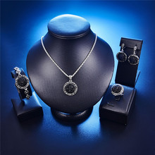 Wholesale Vintage Black Jewelry Set Fashion Women Jewelry Set Antique Silver Color Crystal Round Stone Pendant Necklace Sets 4Pc
