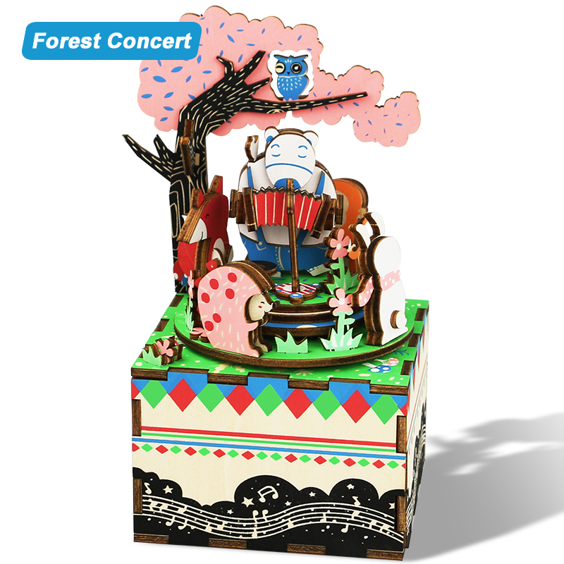 DIY Rotating Music Box Dollhouse Miniature 3D Puzzle Wooden Mode Decor Handmade Creative Doll house Toys Gift For Kids AM404 #D dedo music gifts mg 308 pure handmade rotating guitar music box blue
