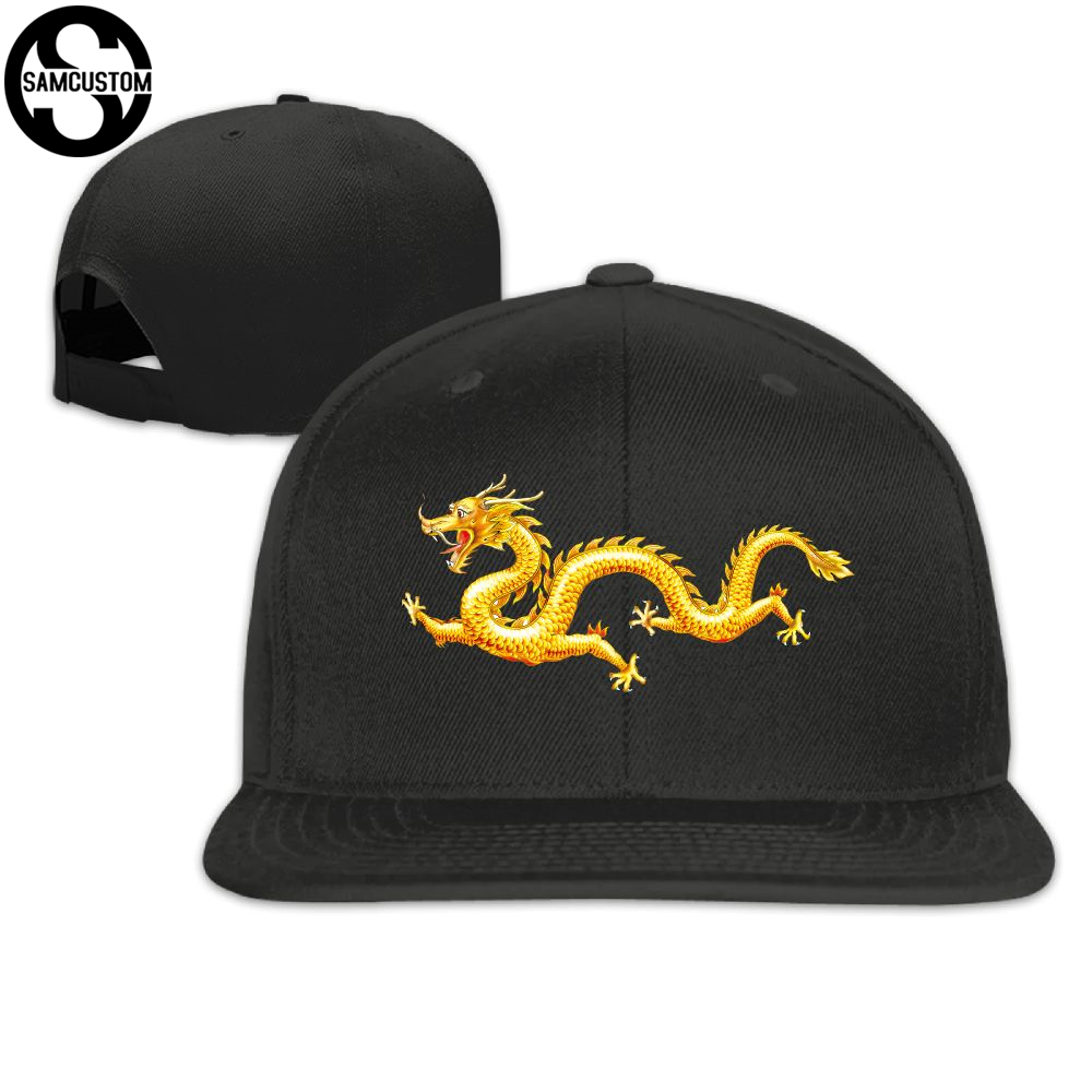 SAMCUSTOM   cap     baseball     cap   Side 3D printing China Ipomoea Golden Dragon Casual   cap   gorras hip hop snapback hats wash   cap   unisex