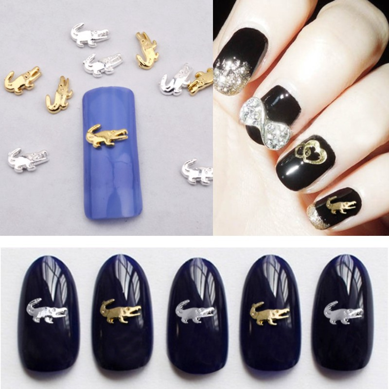10Pieces Gold Silver Cute Crocodile 3D Metal Alloy Nail Tips ...
