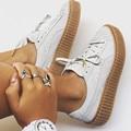 2017 Новые Моды для Женщин Мокасины Замшевые Creepers Женщины Causual обувь Круглого Toe Lace Up Женщины На Открытом Воздухе Квартиры Zapatos Mujer 42