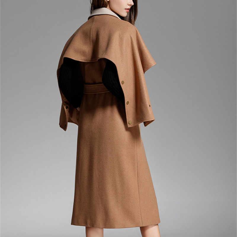 Женское зимнее шерстяное длинное пальто-накидка 2018 винтажное элегантное модное корейское стильное зимнее женское пальто-верблюжья накидка