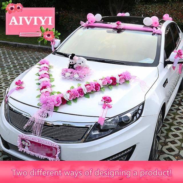Two Bears Luxury Wedding Car Decoration Heart Flower Bridal Sedan