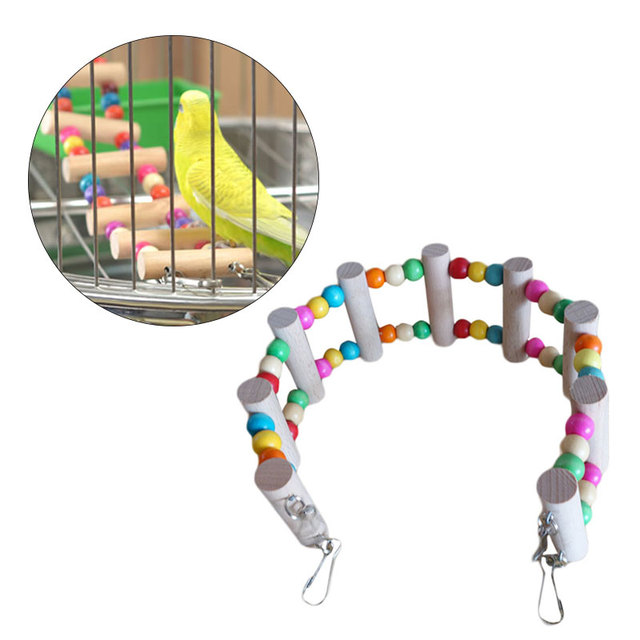 For Small Birds Toys Parrot Toys Drawbridge Bridge Wooden Singing Cockatiel Pet Toy Accessories   2016 fashion new style