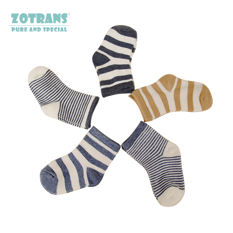 5 Pair/lot Baby Boy Stripes Socks 5 Kinds Style Soft Cotton Infant Socks Cute Cartoon Pattern Kids Socks For Baby Boy Blue Black cute sunflower pattern baby non slip socks deep pink 1 pair