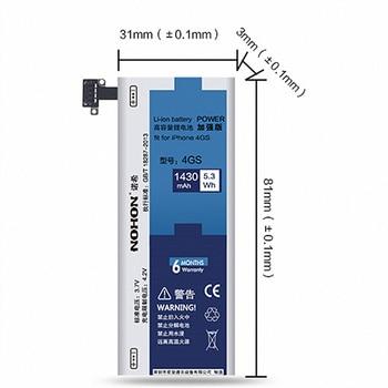 3a5aaae0dbe 100% Marca Top 4S NOHON 1430 mah Nova Bateria Para iPhone de Alta Qualidade  Substituição Da Bateria + Ferramentas de Máquina Com Varejo caixa