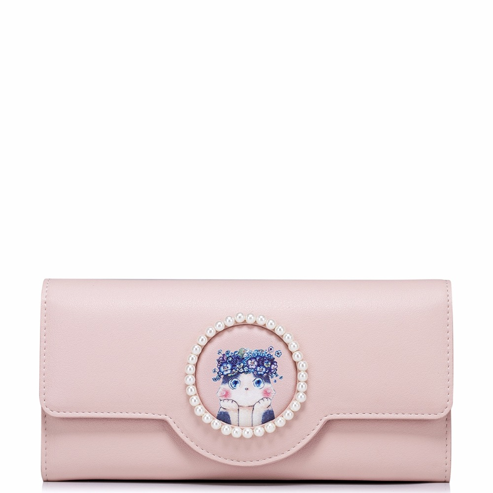 ФОТО 2017 New Arrived Fashion Cat Princess Pearls PU Women Leather Pink Girls Ladies Long Wallets Cards Holder Coin Purse Clutches