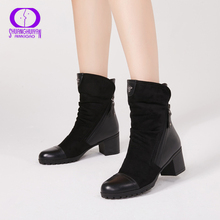 AIMEIGAO New Arrival High Heels boots Women Suede Leather Black Boots Double Zip Short Plush High Qu
