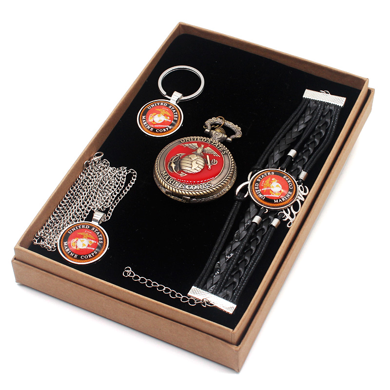 Fashion Classic United States Marine Corps Gift Set Have Pocket Watch And Pendant Necklace And Key Chains Bracelet With Gift Box