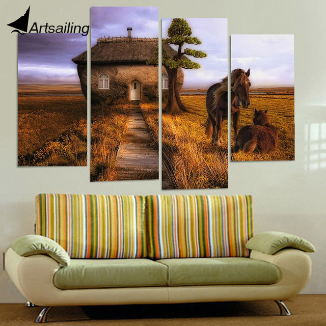 4 panel canvas art canvas painting couple horse small house hd