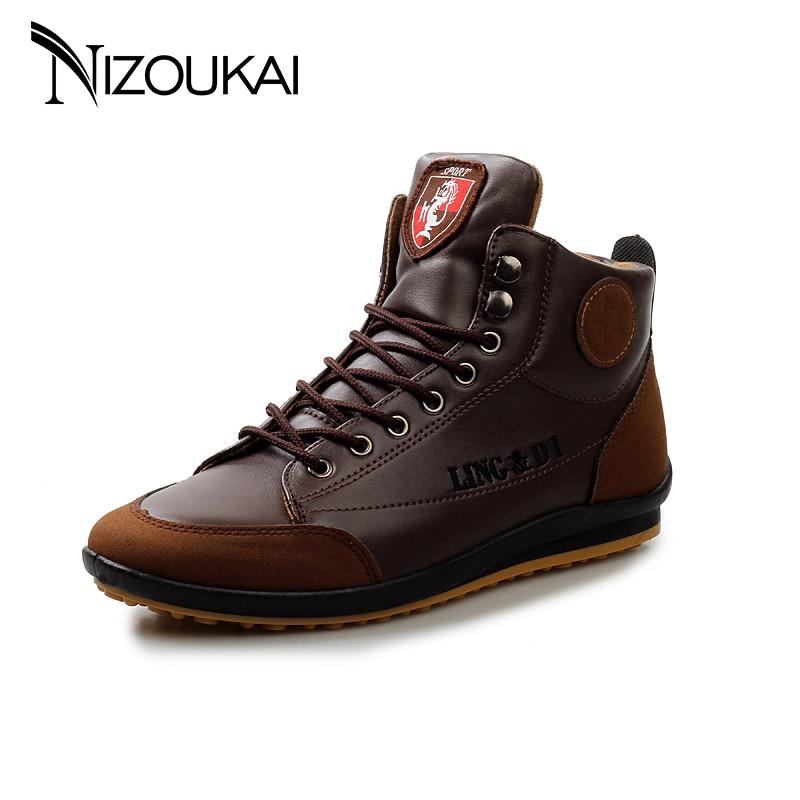 New 2018 Men Leather Boots Fashion Autumn Winter Warm Cotton Ankle Boots for men shoes Lace UP Men Footwear plus size mulinsen new 2017 autumn winter men
