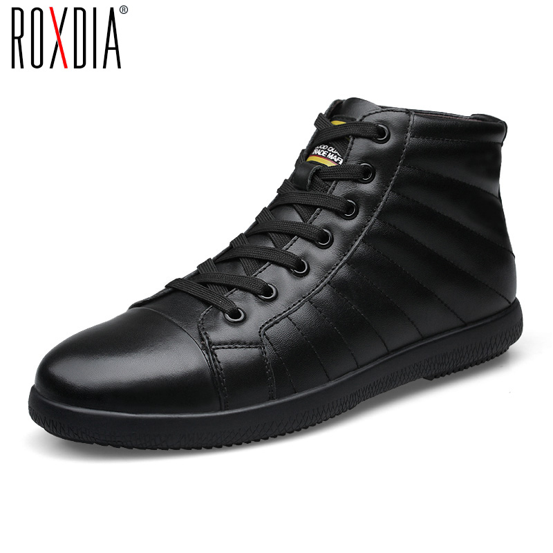 ROXDIA men boots man shoes genuine leather ankle winter snow warm short plush lace up black blue plus size 39-46 RXM1001 yin qi shi man winter outdoor shoes hiking camping trip high top hiking boots cow leather durable female plush warm outdoor boot