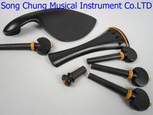2 sets 4/4 violin ebony&boxwood fittings parts accessories tailpiece chinrest endpin 4 pegs  fittings