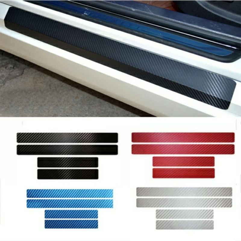 For Nissan For Infiniti Q50 2014 Carbon Fiber Sticker Car Door Sill Scuff Plate Pedal Guard Sill Cover Sticker Car Styling epr car styling for nissan skyline r33 gtr type 2 carbon fiber hood bonnet lip