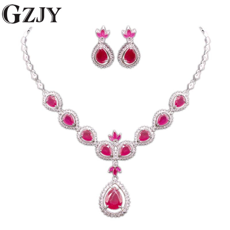 GZJY Elegant Beautiful Water Drop White Gold Color Red AAA Zircon Bridal/Wedding Necklace Earrings Jewelry Sets For Women gzjy gorgeous red zircon bridal jewelry sets gold color flower necklace earrings ring bracelet sets wedding jewelry for women