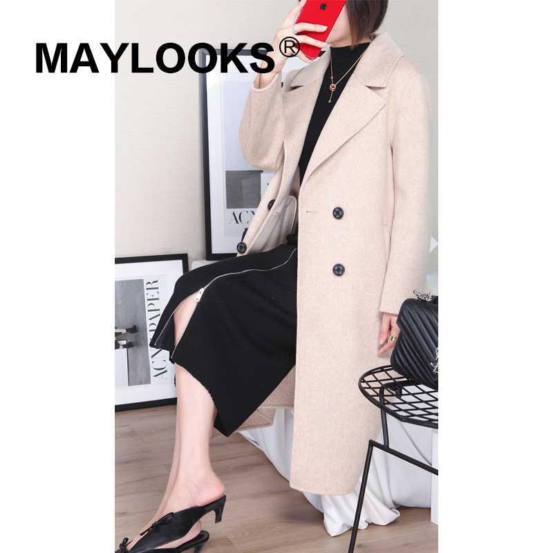 maylooks 2018 Women Fall/Winter new fashion wool SOLID jacket lady's long style pocket leisure wool coat 37159