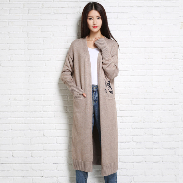 adohon 2017 womens winter Cashmere sweaters and Long Cardigan women High Quality Casual Warm Female thickening Animal Solid