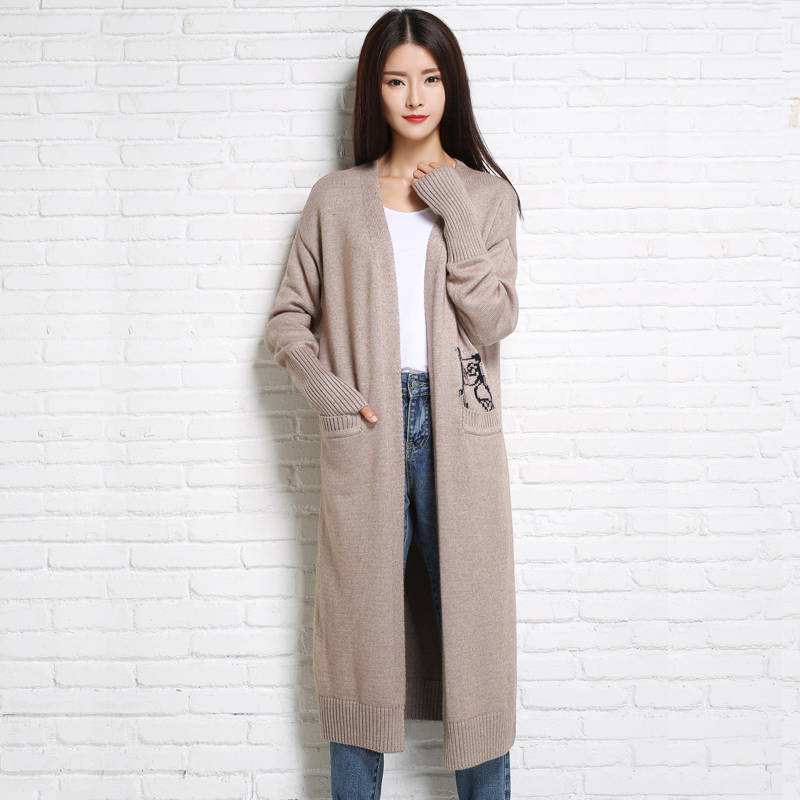 adohon 2018 womens winter Cashmere sweaters and Long Cardigan women High Quality Casual Warm Female thickening Animal Solid