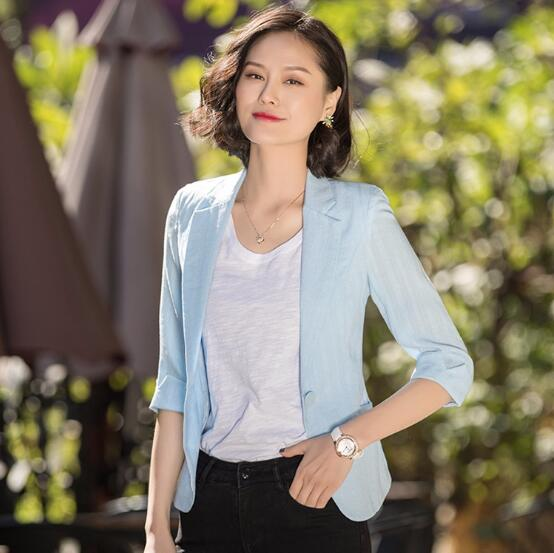 2018 New Summer Cotton womens Half sleeve Jacket slim business office ladies formal Blazer Girls Casual Fashion Tops