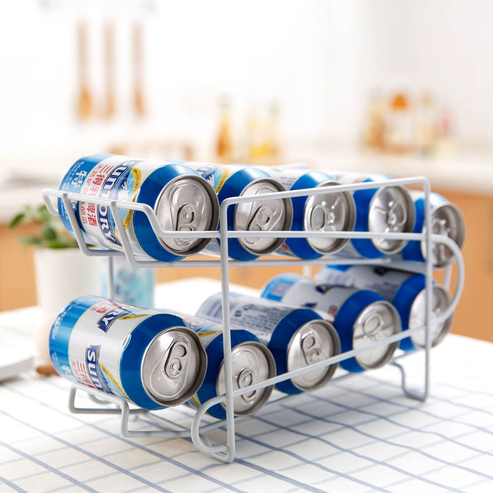 OTHERHOUSE Kitchen Organizer Beer Holder Storage Rack Kitchen Rack Fridge Organizer Can Beer Wine Bottle Holder Iron Shelves