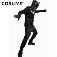 Coslive Black Panther Costume Outfit Captain America COSplay Civil War Superhero Battle Suit Props