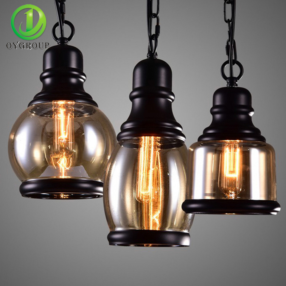 Vintage Industrial Glass Pendant Light: Vintage Industrial Loft Glass Shade Pendant Light E27 Bulb