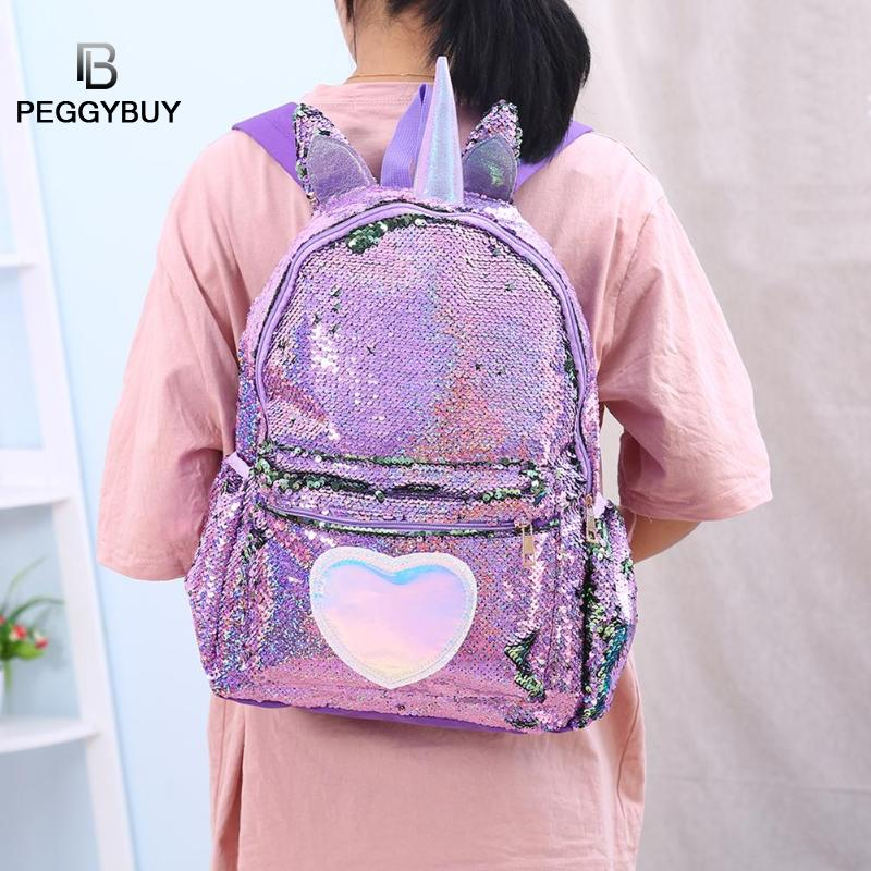 School Bags For Teenage Girls Sequins Heart-Shaped Travel Backpack  Women Glitter Shoulder School Bags Mochila Feminina