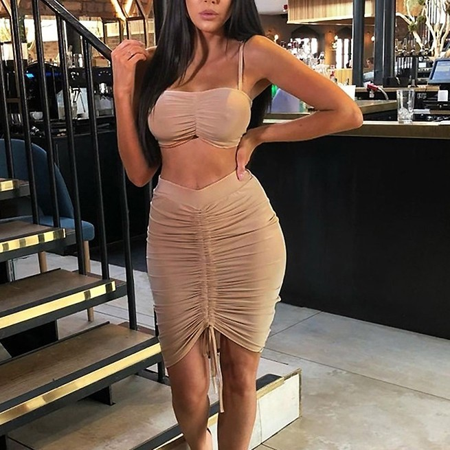 Adjustable Length Two Piece Dress Set Crop Top Dress Set 2 Piece Set Women Sexy Pleated Dress Ruched Bodycon Two Piece Outfits