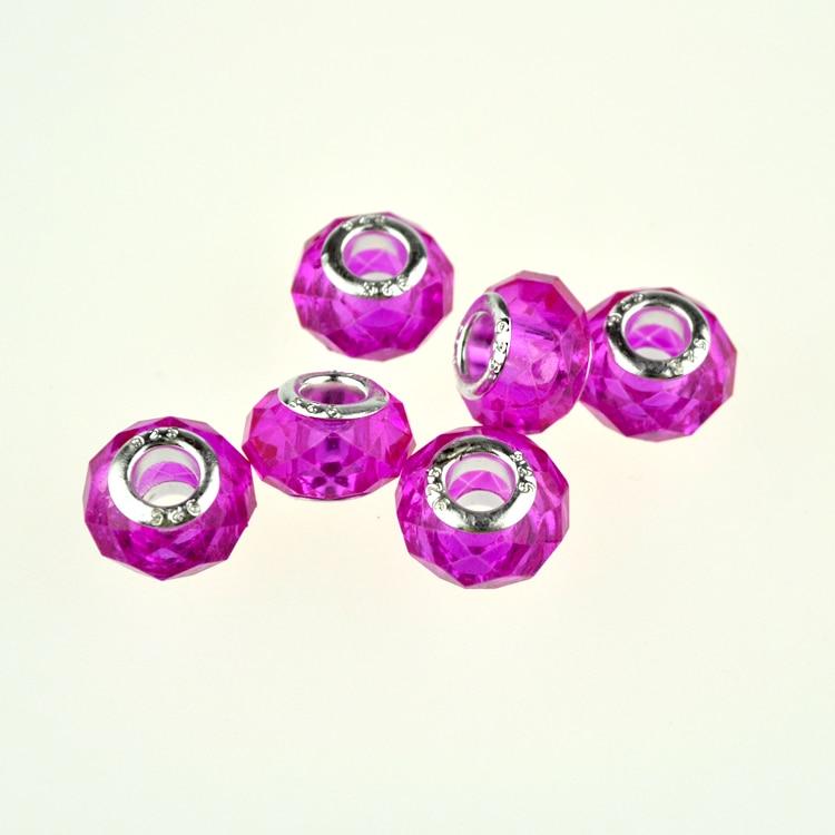 100Pcs Printed Flower Wooden Beads Fit European Charms DIY Necklace Bracelet
