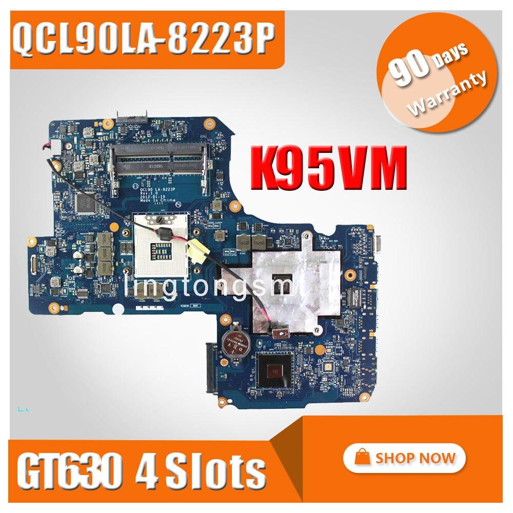 for ASUS K95VM A95VM laptop motherboard 4ram slots GT630 1G QCL90 LA-8223P Mainboard N13P-GL-A1 chipest 100% Tested g75vx laptop motherboard rev 2 0 ddr3 non integrated 100% tested 2d connector 4ram slots mainboard