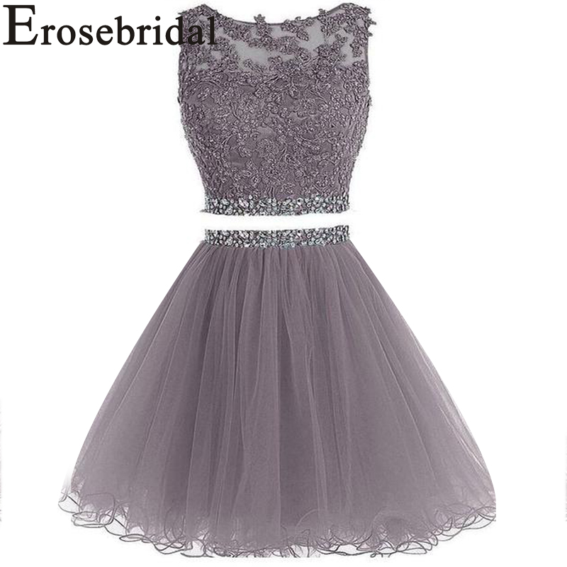 Erosebridal New Arrival 2019 Two Piece Prom Dresses Knee Length Tulle Cocktail Dress Beaded Party Dresses