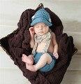 Newborn Baby outfit sombrero y cubierta del pañal set peto Newborn fotografía atrezzo bebé traje pantalones del babero bebé caps