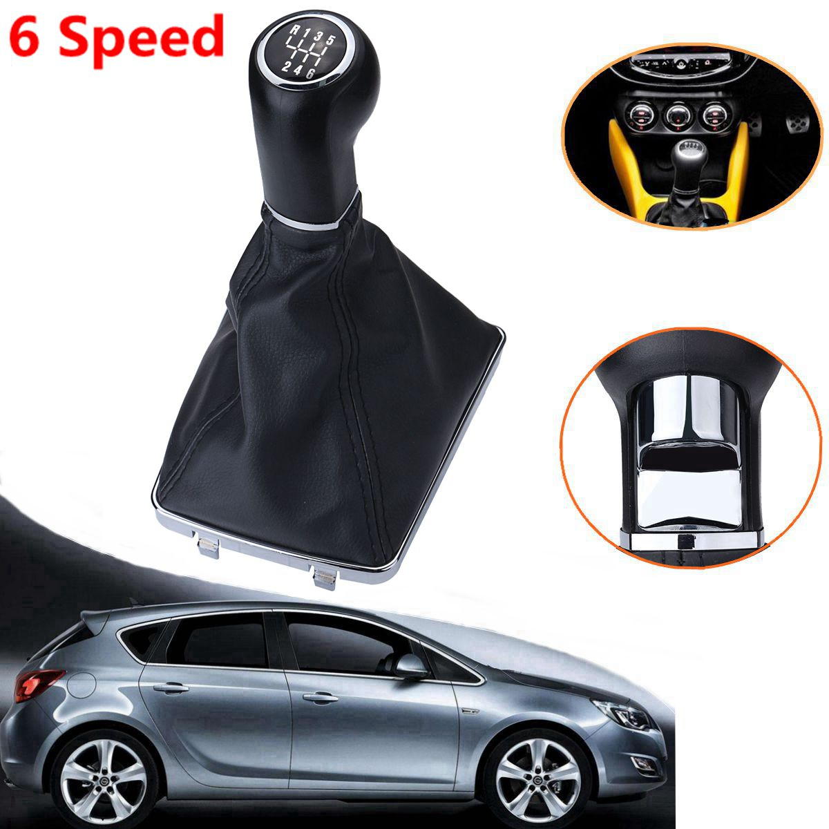 6 Speed Car Gear Shift Knob Lever Stick Gaiter Boot For Opel Astra Corsa GTC 2005 2006 2007 2008 2009 2010