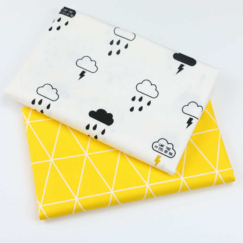 Printed Clouds and Rain  Kids Twill Cotton Fabric,Patchwork Cloth,DIY Sewing Quilting Fat Quarters Material For BabyΧld
