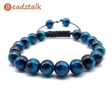 Натуральные Синие Бусины тигровый глаз браслет веревка шнур