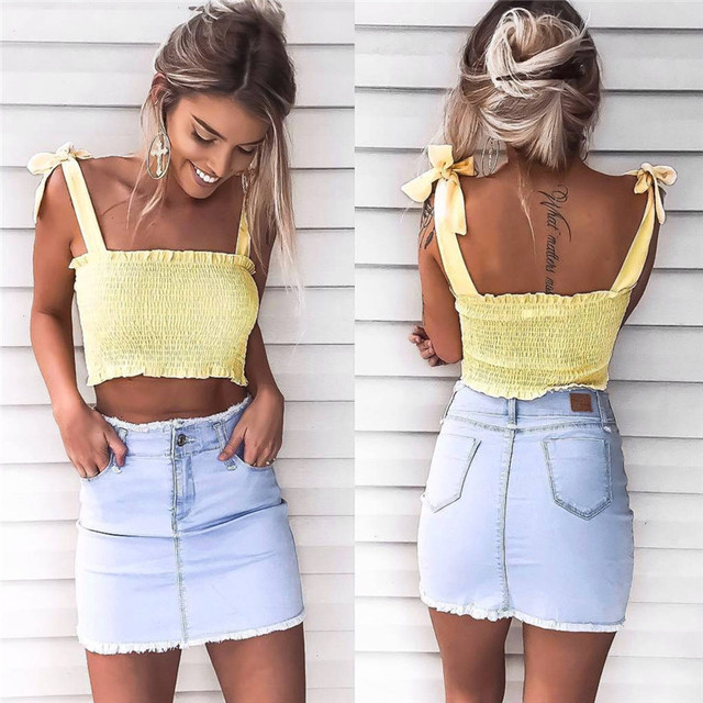 9543f8a311 Women Sexy Pink Camisole Crop Top Fashion 2017 Summer Holiday Beach Ladies  Elastic Tank Top Tumblr