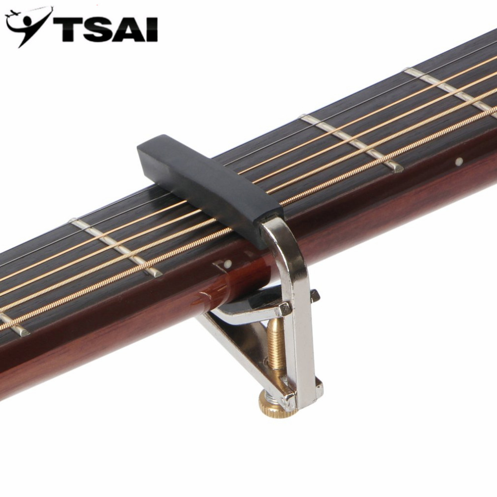 TSAI Mental Capo Tuner Chromeplate Capo Musical Instrument Accessories For Guitar Electric Guitar Ukulele Adjustable Durable Hot soach sales ukulele tuner acoustic guitar capo classical guitar aluminum alloy string musical instrument accessories