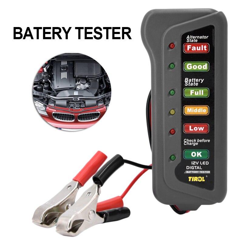 Автомобильный цифровой Батарея Тестер Авто Генератор тестер с 6-светодиодные фонари стайлинга автомобилей Батарея инструмент диагностики