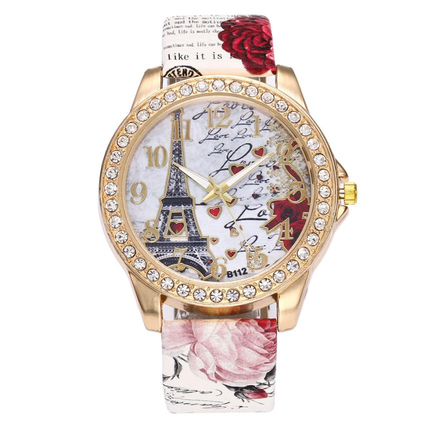 Watch Women Luxury 2017 Paris Eiffel Tower Fashion Crystal Round Dial Leather Band Quartz Wristwatches Womens Watches Gift Dec06 paradise 2016 classic look paris eiffel tower women faux leather analog quartz wrist watch watches free shipping apr20