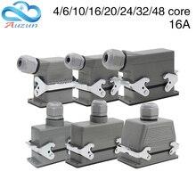 Heavy Duty Connectorรูปสี่เหลี่ยมผืนผ้าHdc he 4/6/10/16/20/24/32/48 Coreอุตสาหกรรมกันน้ำปลั๊ก 16Aด้านบนและด้านข้าง