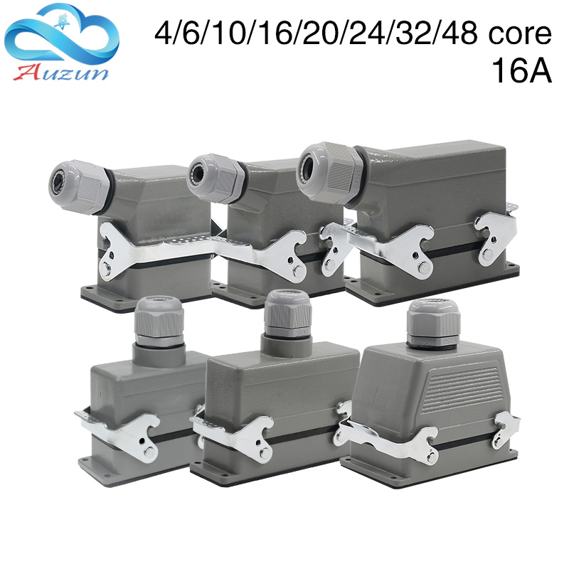 Heavy-duty connector rectangular hdc-he-4/6/10/16/20/24/32/48 core industrial waterproof aviation plug 16A top and side heavy duty connectors hdc he 024 1 f m 24pin industrial rectangular aviation connector plug 16a 500v