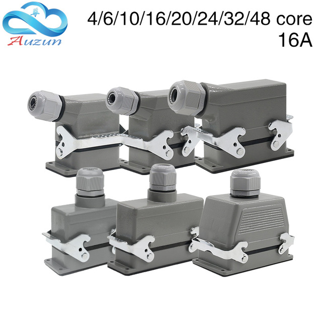 Heavy duty connector rectangular hdc he 4/6/10/16/20/24/32/48 core industrial waterproof aviation plug 16A top and side
