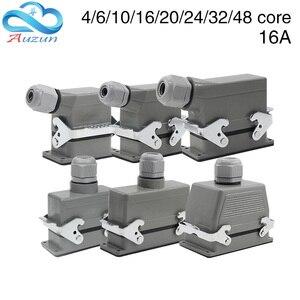 Image 1 - 헤비 듀티 커넥터 직사각형 hdc he 4/6/10/16/20/24/32/48 코어 산업용 방수 항공 플러그 16A 상단 및 측면