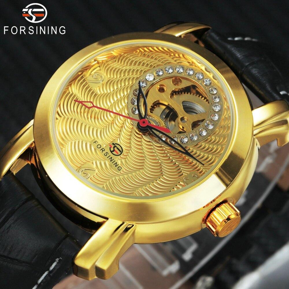 FORSINING Königliche Kleid Auto Mechanische Uhr Männer Lederband Kristall Skeleton Goldene Zifferblatt Herren Uhren Top Marke Luxus Uhr